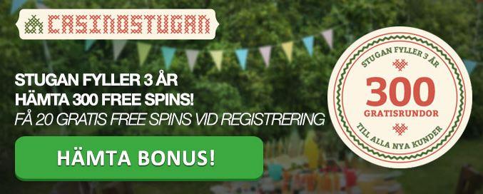 casinostugan firar 3 år med freespins